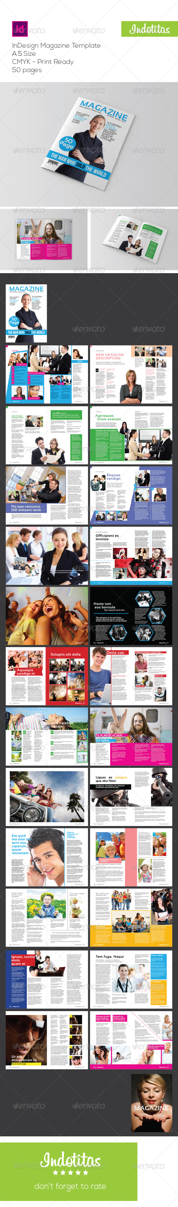 A5 InDesign Magazine Template - Magazines Print Templates