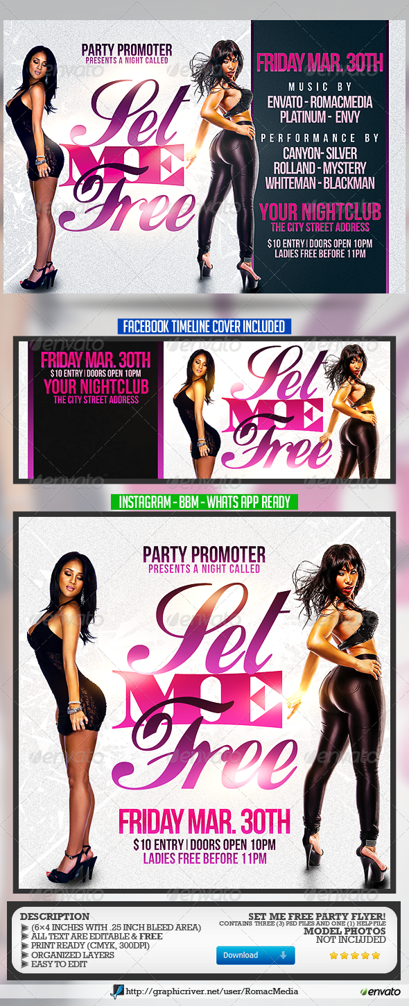 Set Me Free Party Flyer - Clubs & Parties Events