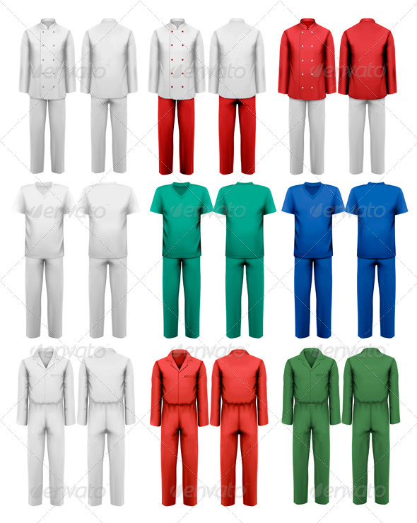 Set of Overalls with Worker Design Template - Industries Business