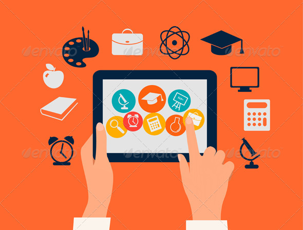 Hands Touching a Tablet with Education Icons - Web Elements Vectors