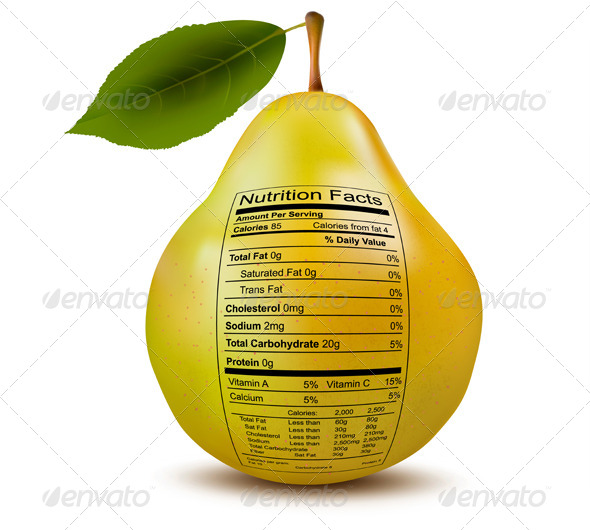 Pear with Nutrition Facts Label  - Food Objects