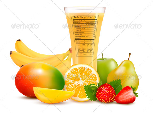 Fresh Fruit and a Glass of Juice with a Nutrition  - Food Objects