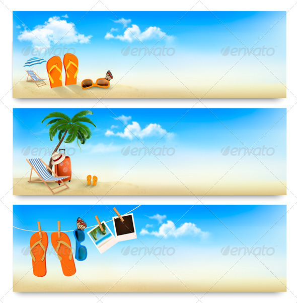 Three Summer Vacation Banners - Travel Conceptual
