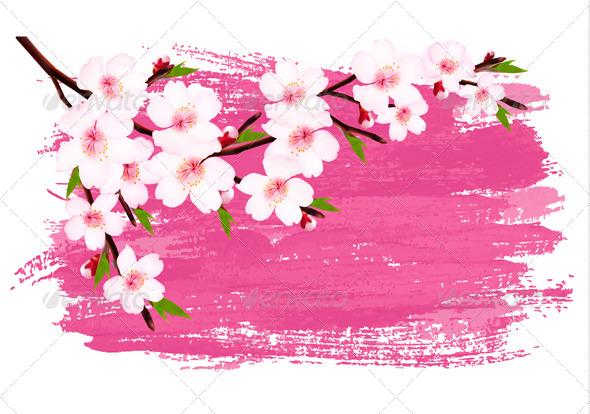 Pink Paint Sakura Branch Banner - Flowers & Plants Nature