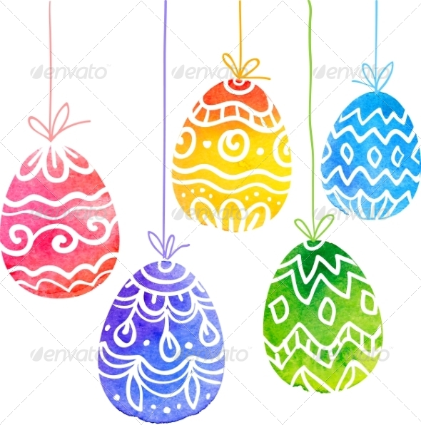 Watercolor Painted Ornate Vector Easter Eggs - Miscellaneous Seasons/Holidays
