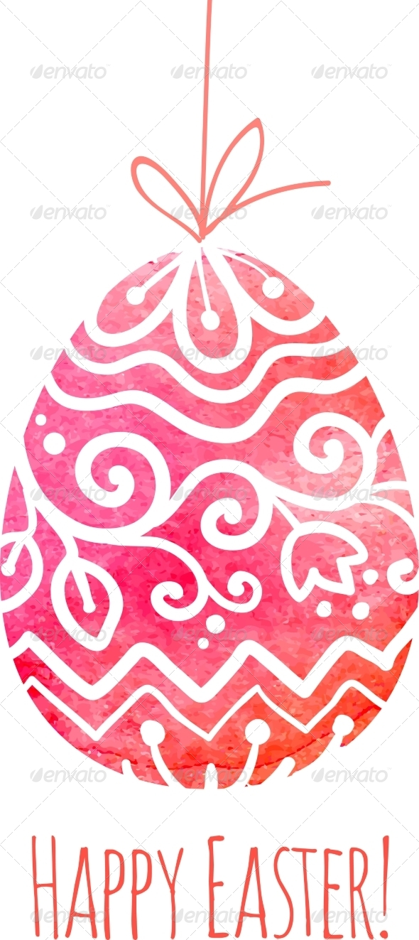 Watercolor Painted Ornate Vector Easter Egg - Miscellaneous Seasons/Holidays