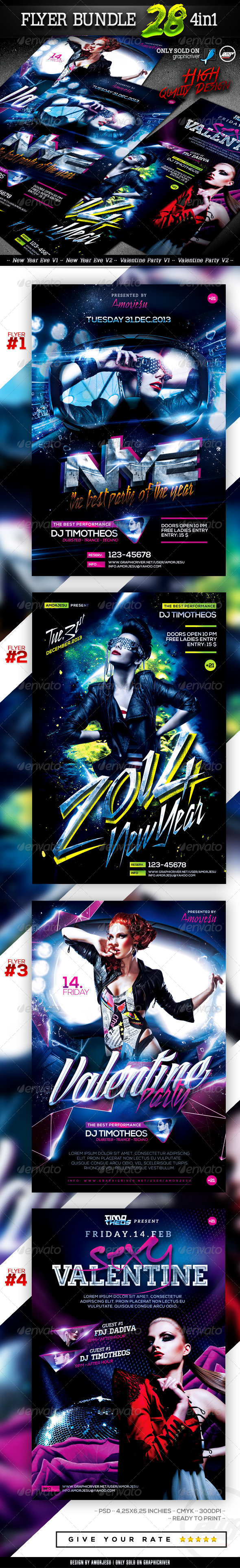 Flyer Bundle Vol28 - 4 in 1 - Clubs & Parties Events