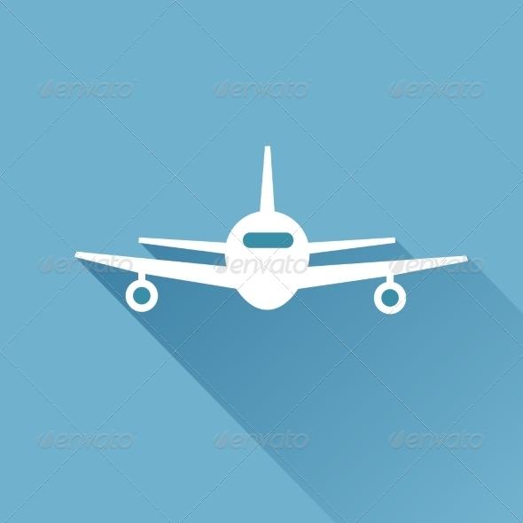Flat Long Shadow Airplane - Travel Conceptual