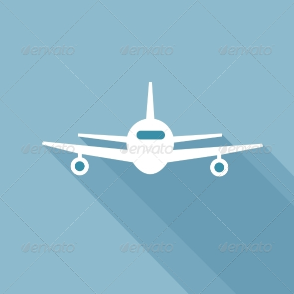 Flat Long Shadow Airplane - Travel Conceptual