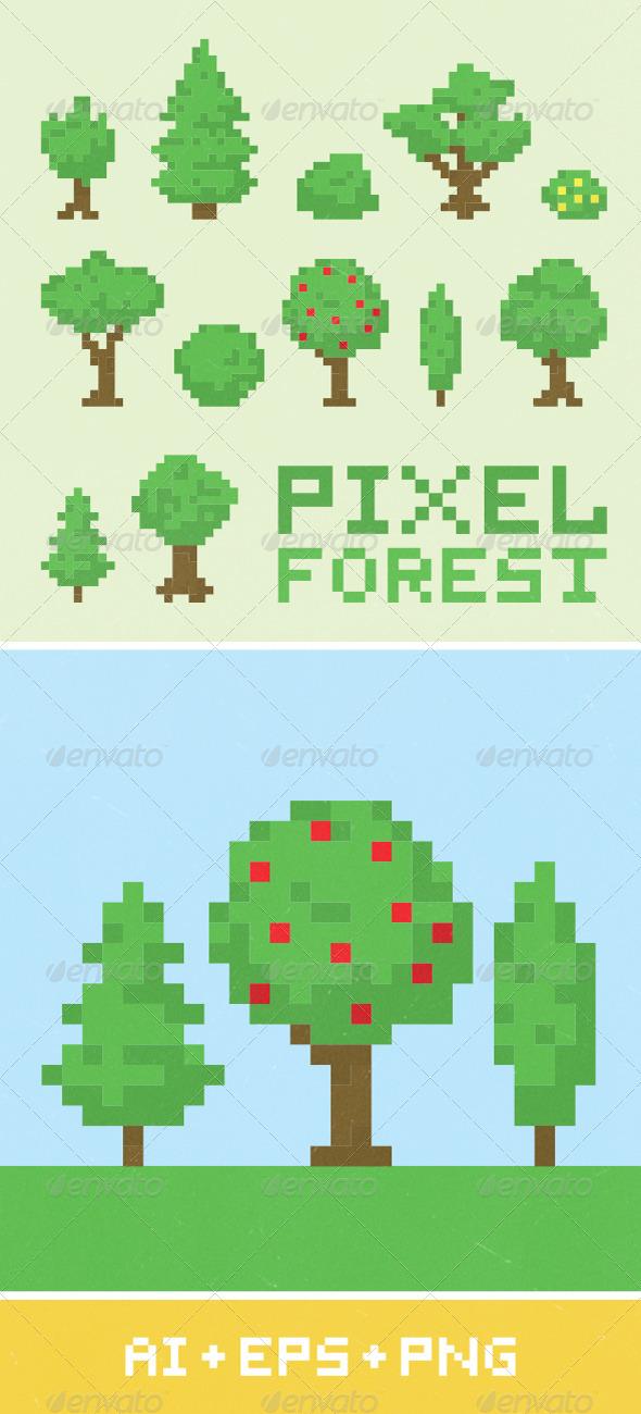 Pixel Art Forest Set 1 - Organic Objects Objects