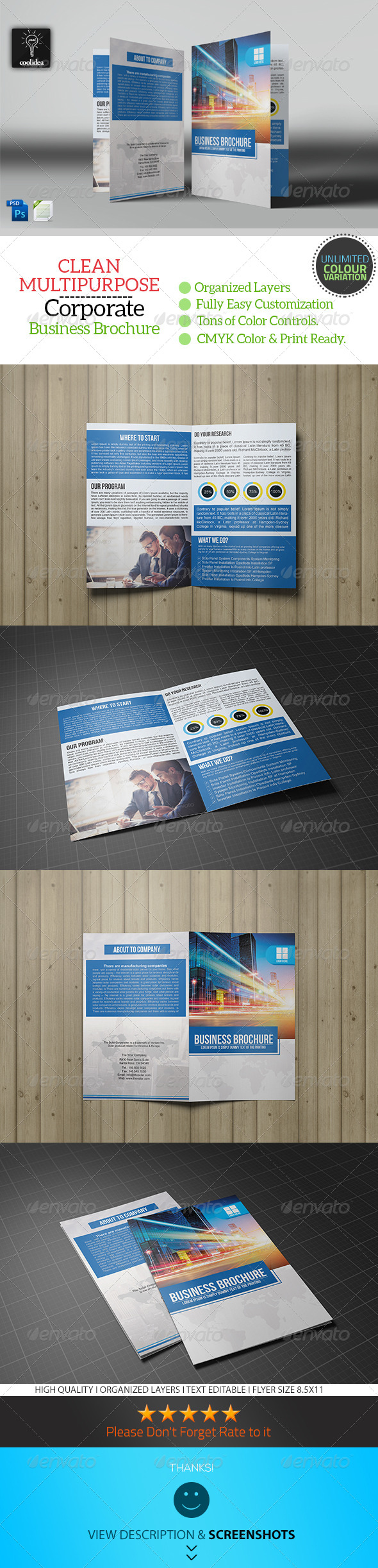 Business Brochure Bifold Template Vol03 - Corporate Brochures