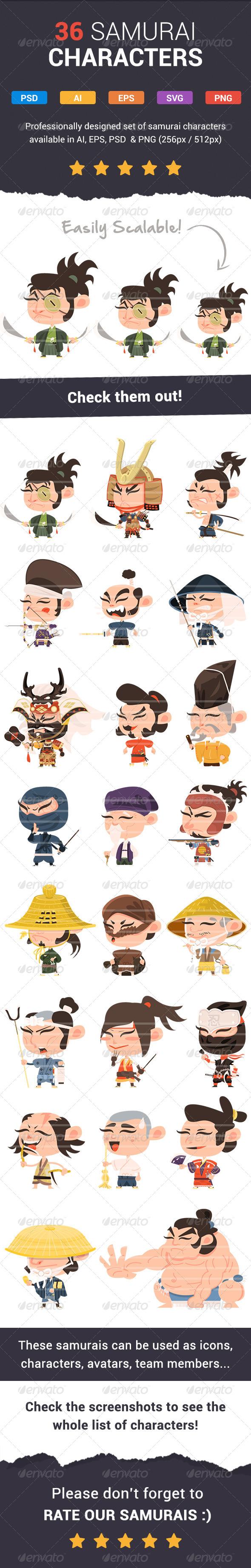 36 Fresh Samurai Characters - Characters Vectors