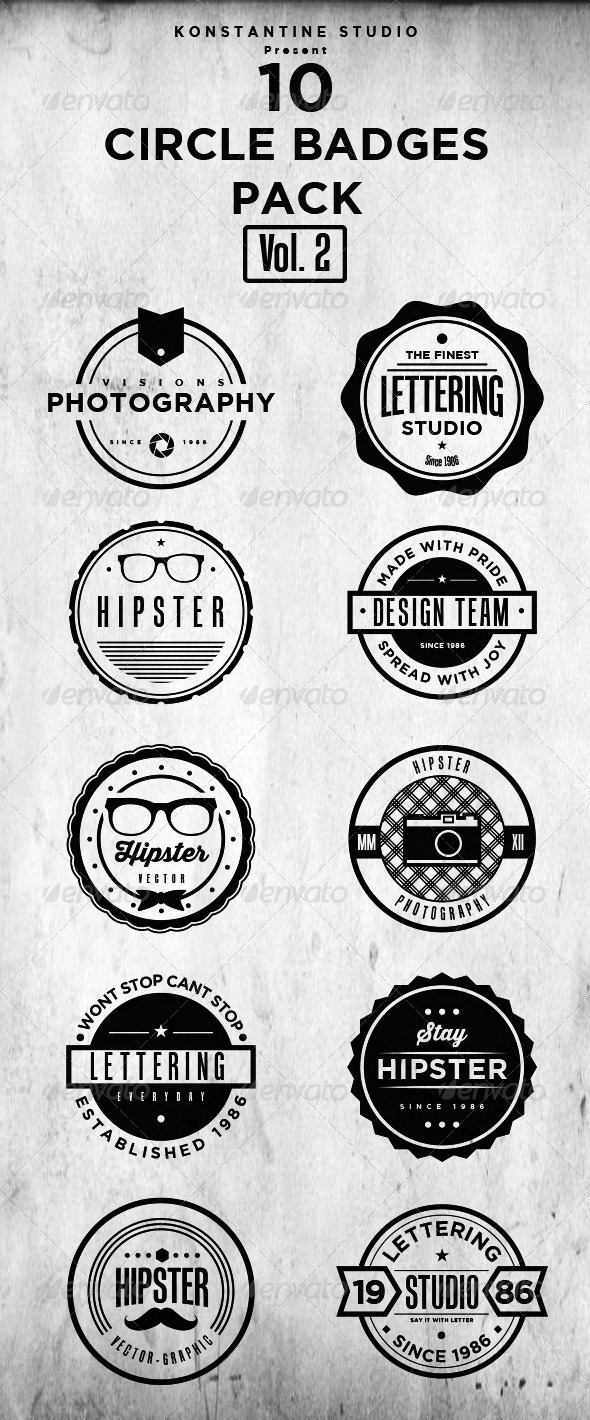 Circle Vintage Badges Pack (Vol.2) - Retro Technology