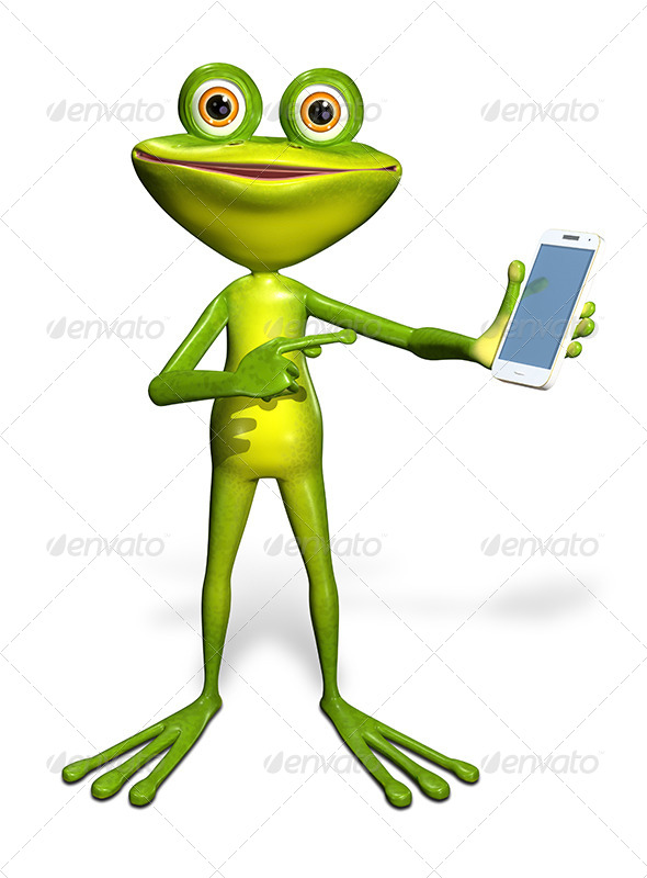 Frog with a Smartphone - Characters 3D Renders