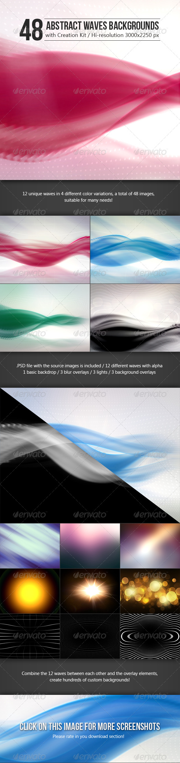 48 Abstract Waves Backgrounds with Creation Kit - Abstract Backgrounds