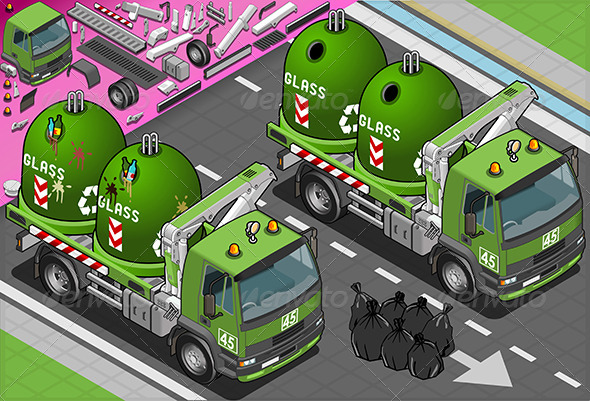 Isometric Glass Garbage Truck with Containers - Objects Vectors