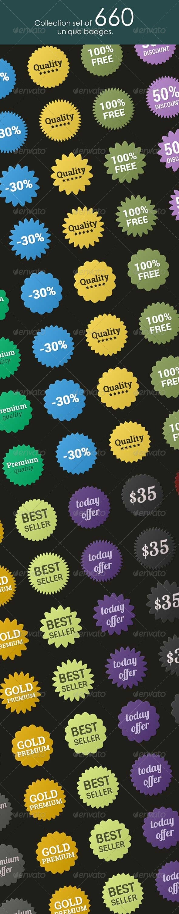 Collection set of 660 Badges - Badges & Stickers Web Elements