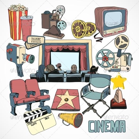 Vintage Cinema Concept Poster - Decorative Symbols Decorative