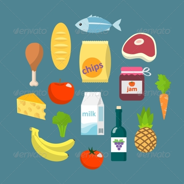 Online Supermarket Foods Flat Concept - Food Objects