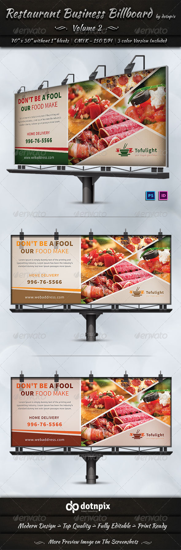 Restaurant Business Billboard | Volume 2 - Signage Print Templates