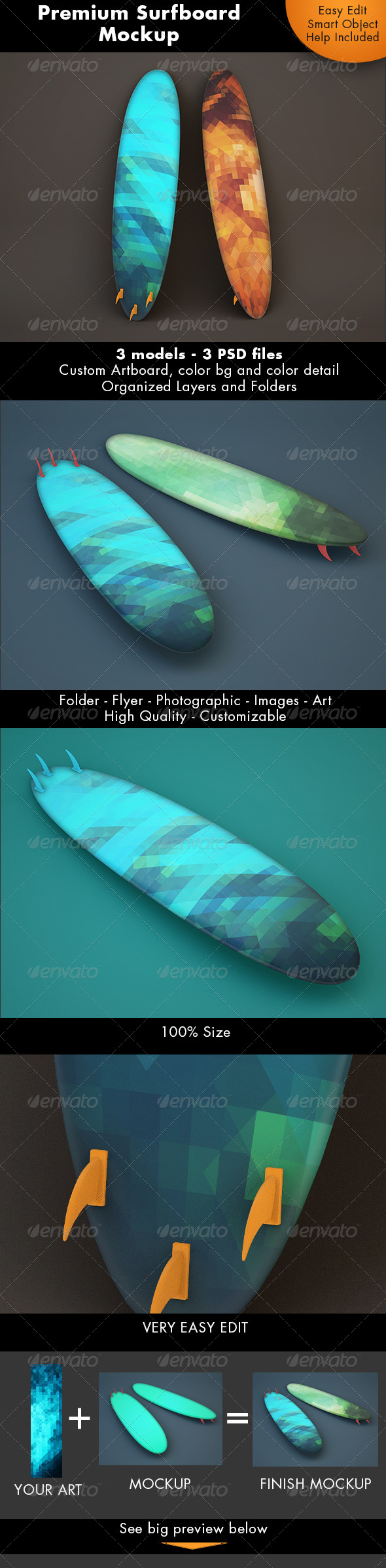 Surfboard Mockup - Miscellaneous Product Mock-Ups