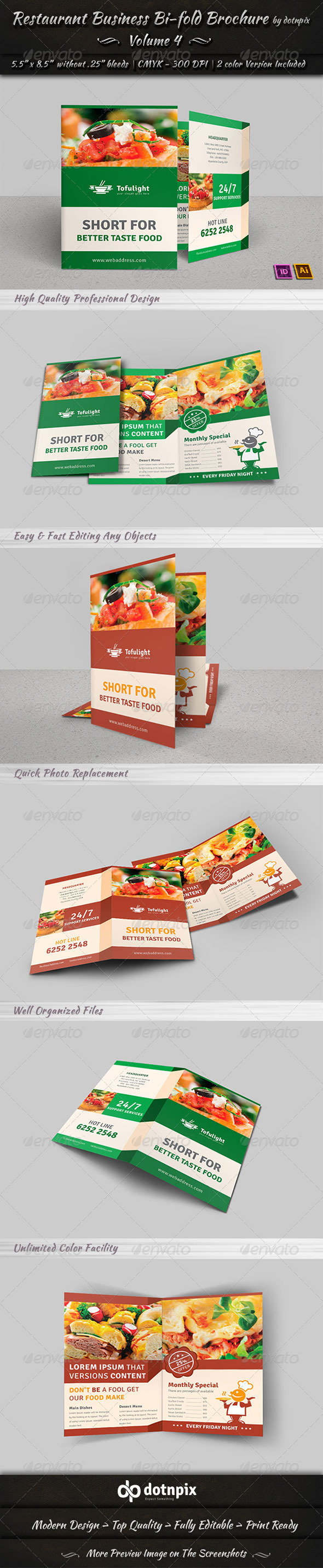 Restaurant Business Bi-Fold Brochure | Volume 4 - Corporate Brochures