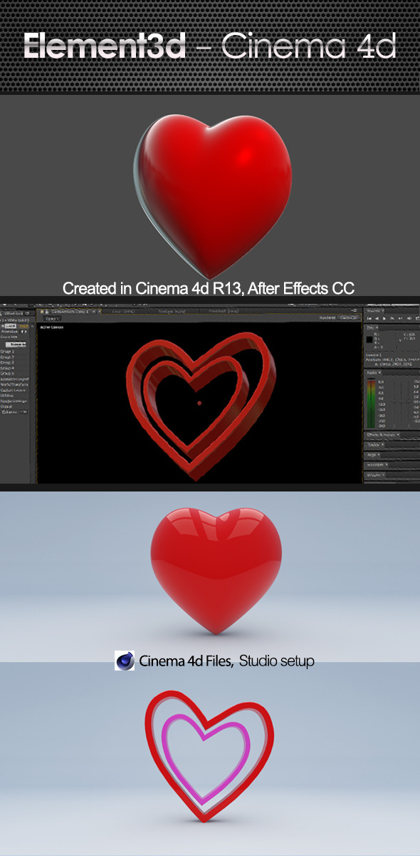 Love Heart Element  3D & Cinema4D - 3DOcean Item for Sale