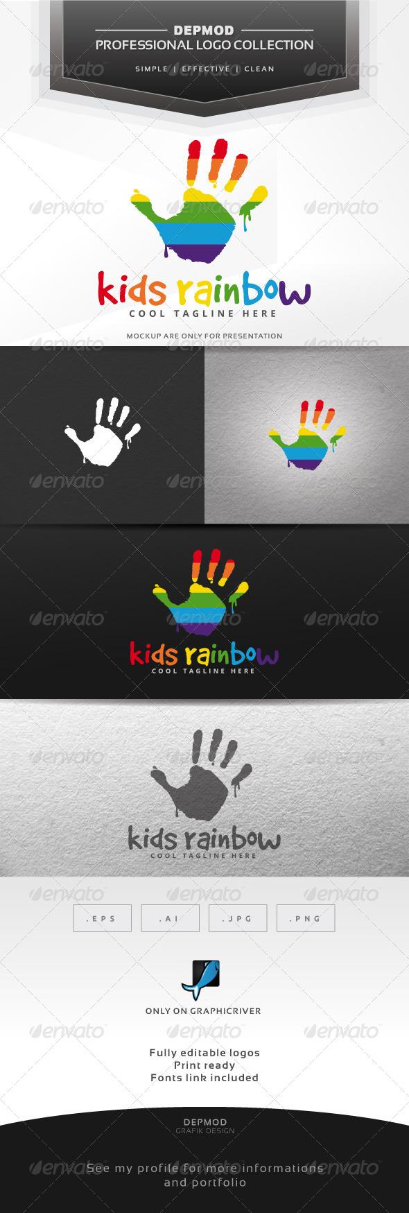 Kids Rainbow Logo - Humans Logo Templates