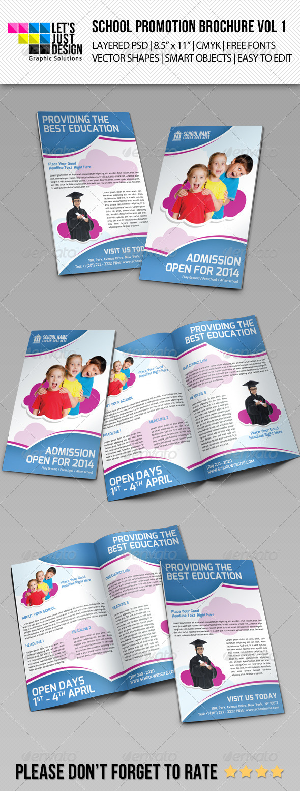 School Promotion Bi-Fold Brochure Vol 1 - Brochures Print Templates