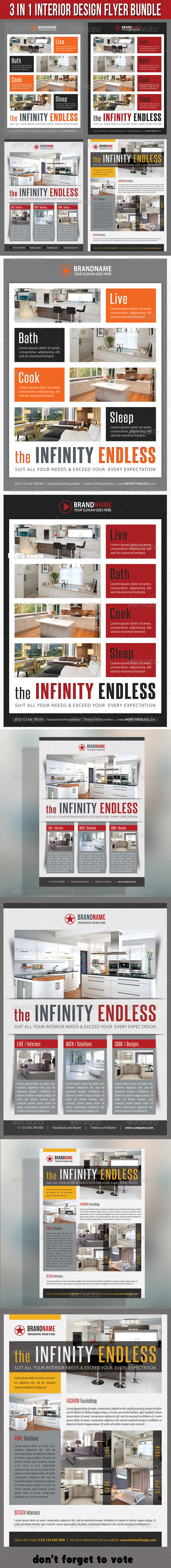 3 in 1 Interior Product Flyer Bundle 04 - Commerce Flyers