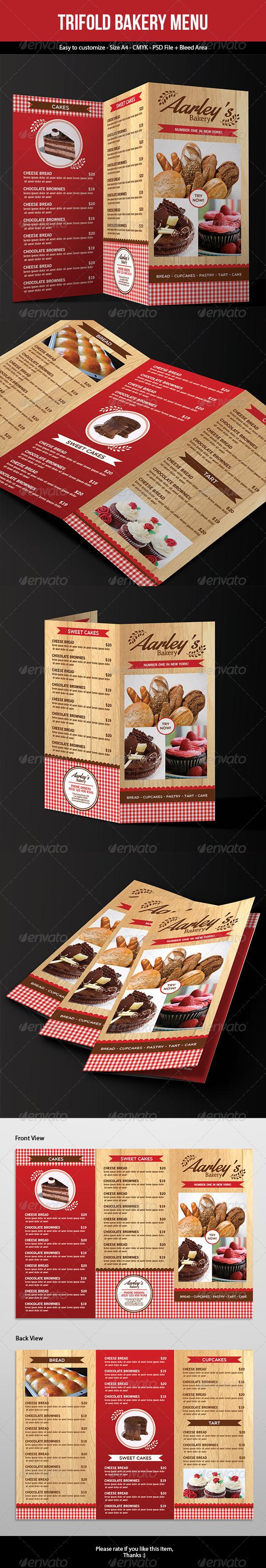 Trifold Bakery Menu - Food Menus Print Templates