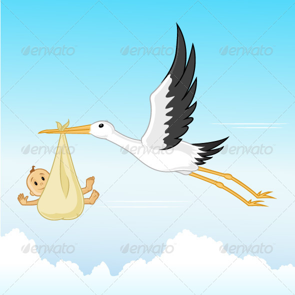 Stork With Baby - Miscellaneous Characters