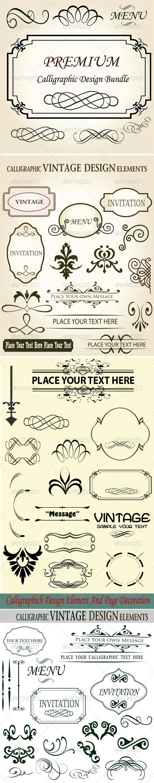 Premium Quality Calligraphic Design Bundle Set - Flourishes / Swirls Decorative
