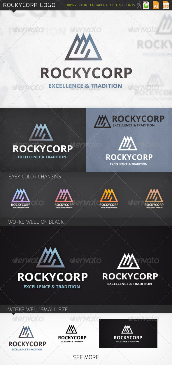 Rockycorp Mountains Logo Template - Abstract Logo Templates