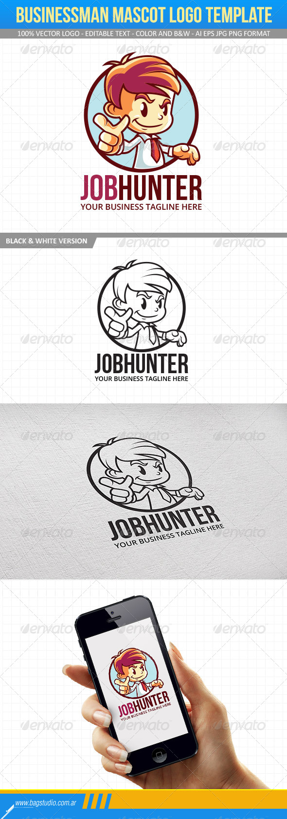 Businessman Mascot Logo Template - Humans Logo Templates
