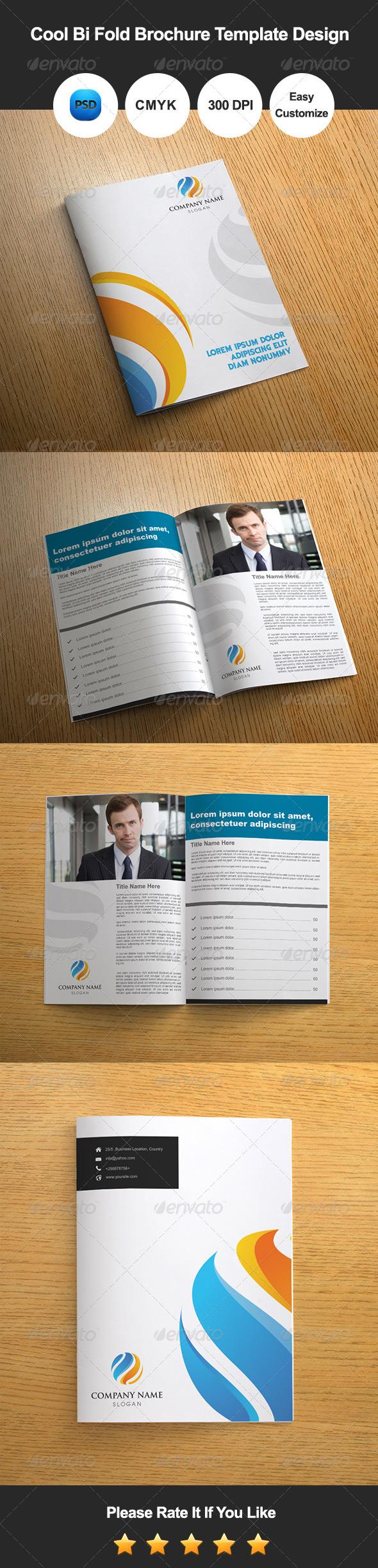 Cool Bi Fold Brochure Template Design - Catalogs Brochures