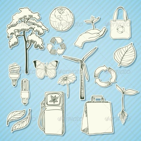 Ecology and environment stickers white - Decorative Symbols Decorative
