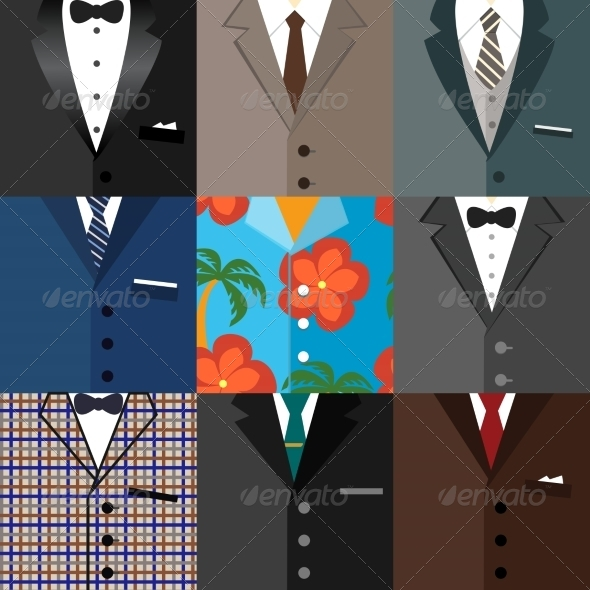 Business Decorative Icons Set of Suits - Concepts Business