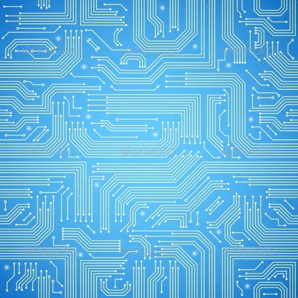 Circuit Board Seamless Blue Pattern - Backgrounds Decorative