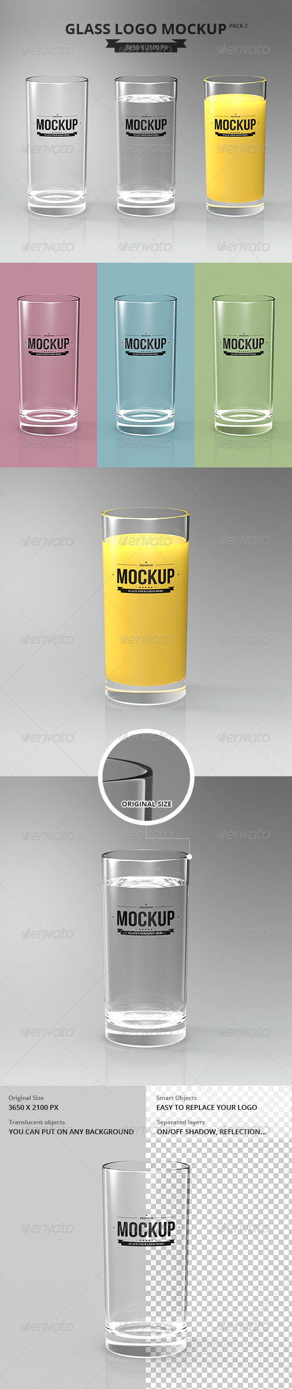 Glasses Logo Mockup Pack 2 - Food and Drink Packaging