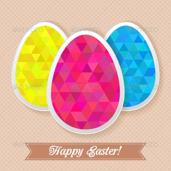 Greeting Easter Card with Triangle Eggs - Miscellaneous Seasons/Holidays