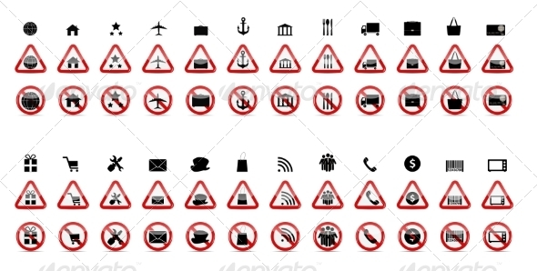 Set of Prohibition Signs - Web Technology