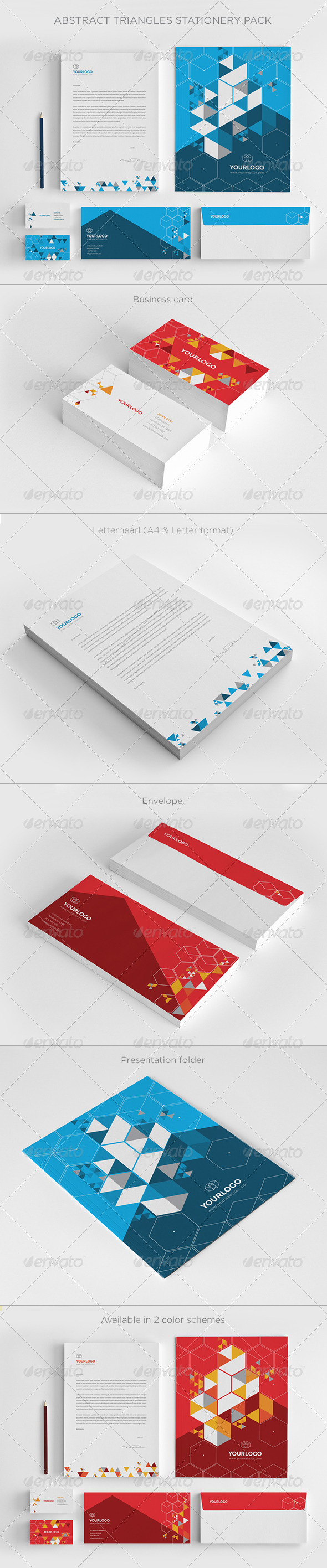Abstract Triangles Stationery Pack - Stationery Print Templates