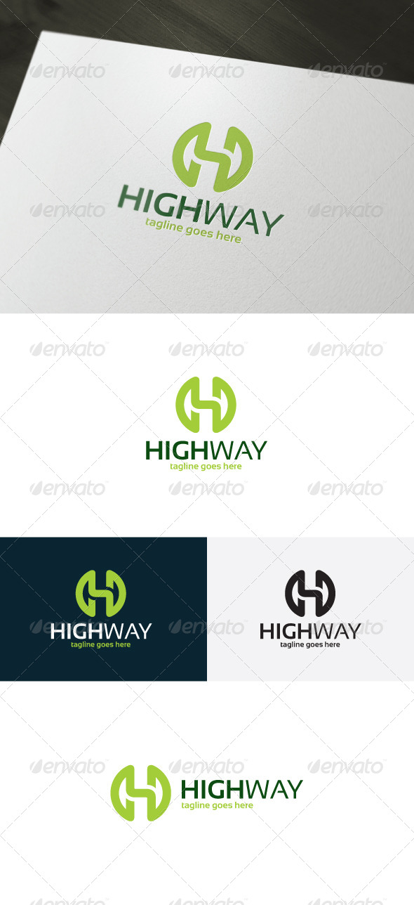 High Way Logo — Letter H - Letters Logo Templates