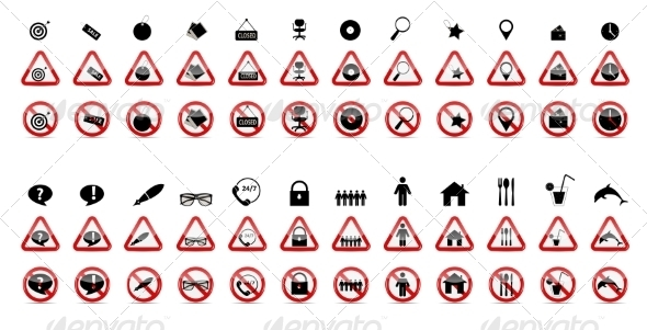 Set of Prohibition Signs - Web Technology