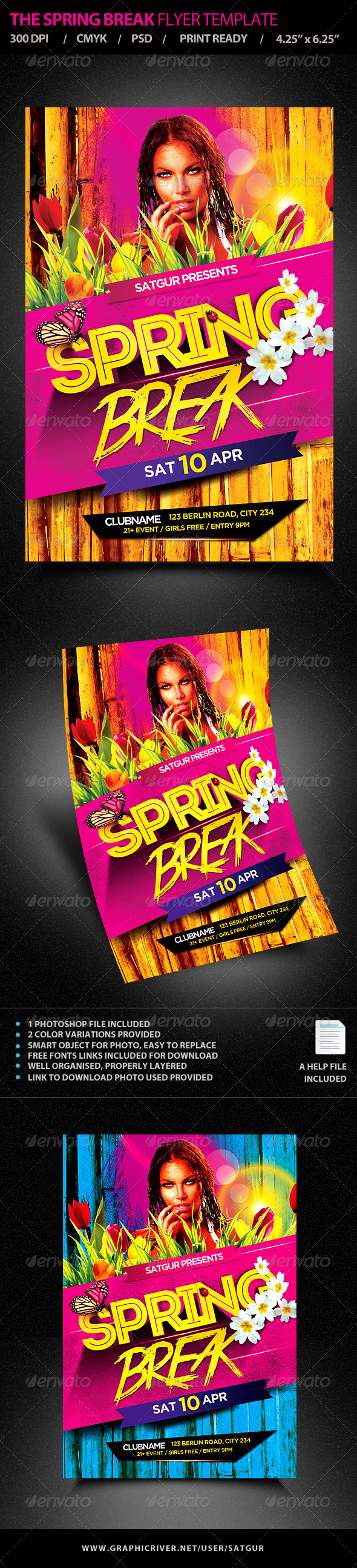 Spring Break Party Flyer Template PSD