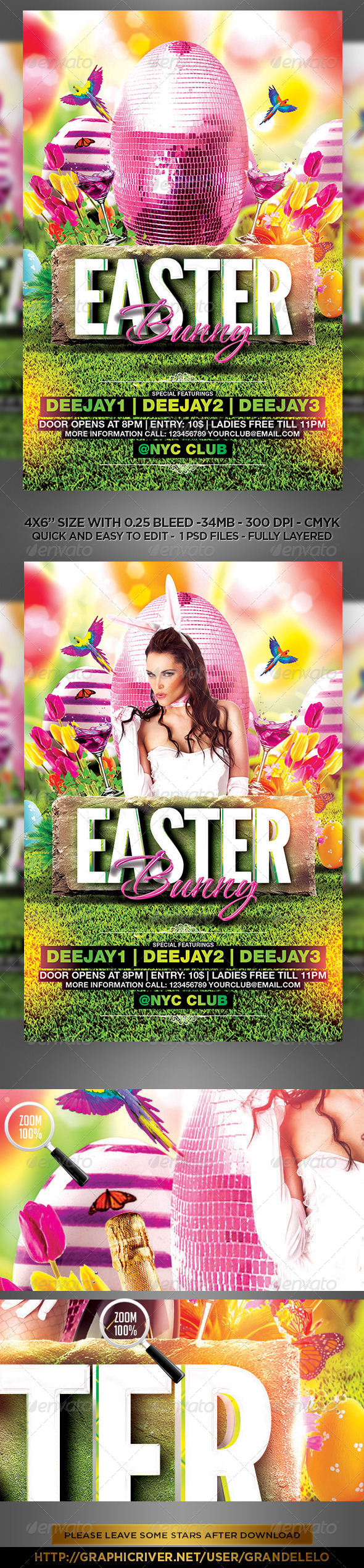 Easter Bunny Flyer Template  - Clubs & Parties Events