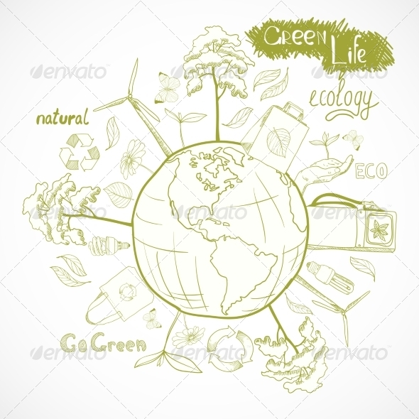 Doodles Ecology and Environment Concept - Miscellaneous Conceptual