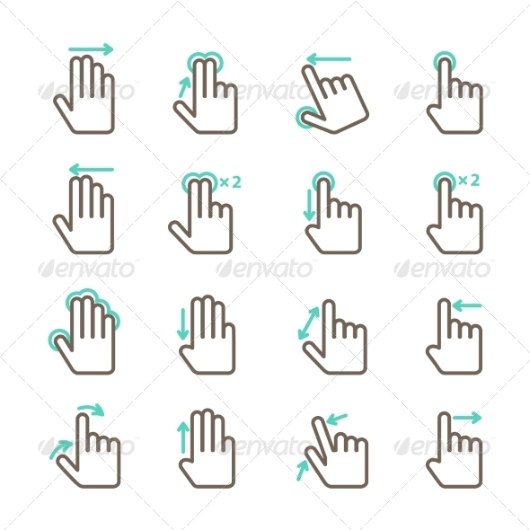 Hand Touch Gestures Icon Set - Web Elements Vectors