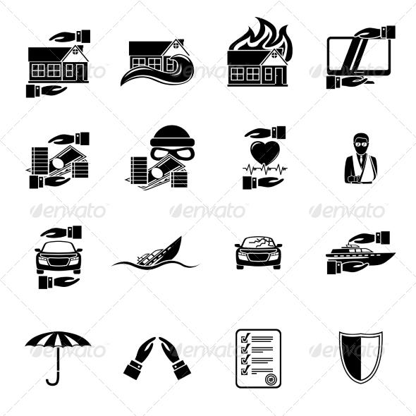 Insurance Security Icons Set - Web Elements Vectors